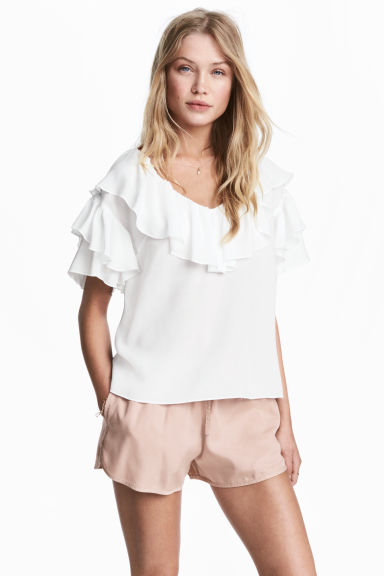 Frilled top - White - Ladies | H&M CN