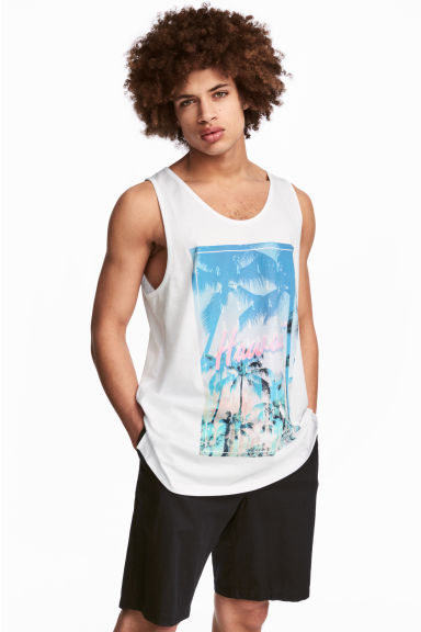 Vest top with a print motif - White/Hawaii -  | H&M