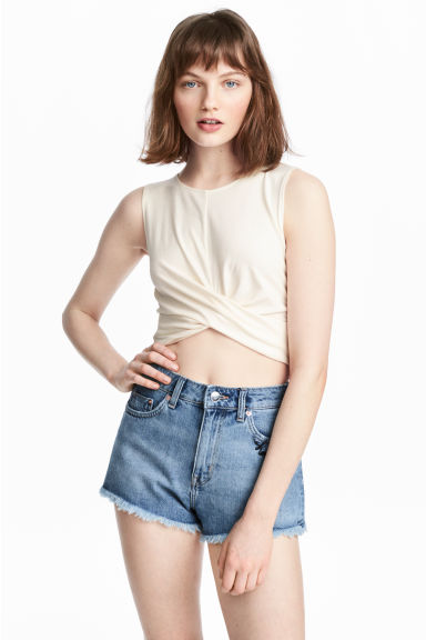 Draped jersey top - White - Ladies | H&M CN