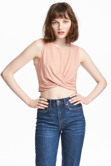 Draped jersey top - Powder - Ladies | H&M CN