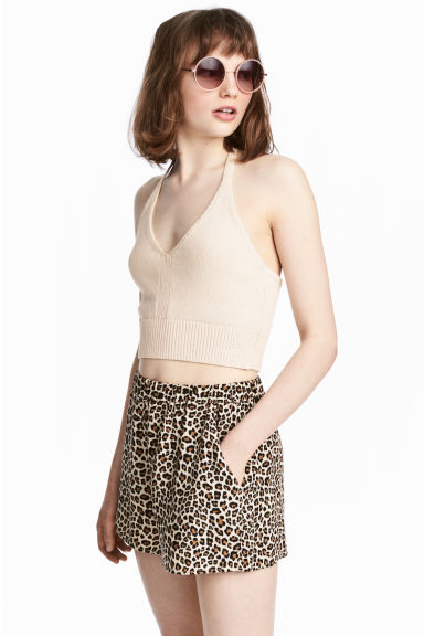 Knitted halterneck top - Light beige -  | H&M