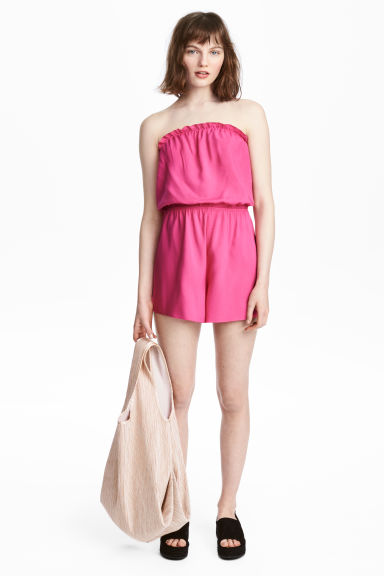 Strapless playsuit - Cerise -  | H&M