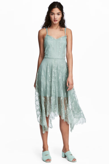 Knee-length lace dress - Dusky green - Ladies | H&M