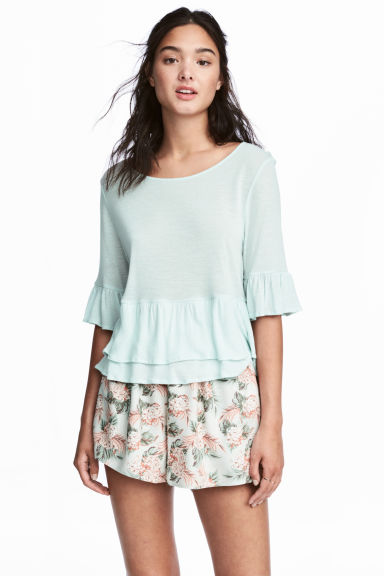 Flounced linen-blend top - Mint green -  | H&M GB
