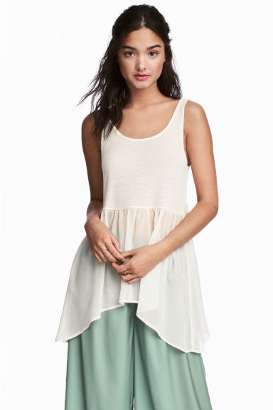 Long vest top - Natural white - Ladies | H&M CN