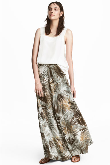 Patterned maxi skirt - Natural white/Leaf - Ladies | H&M