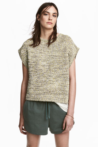 Knitted top - Light beige marl - Ladies | H&M