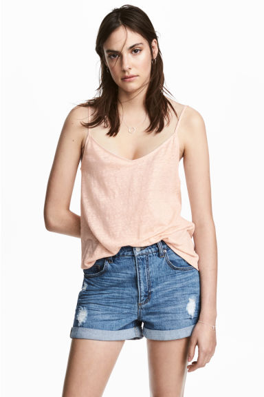 Linen strappy top - Powder pink -  | H&M IE