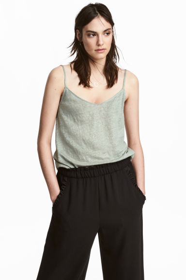 Linen strappy top - Dusky green - Ladies | H&M IE