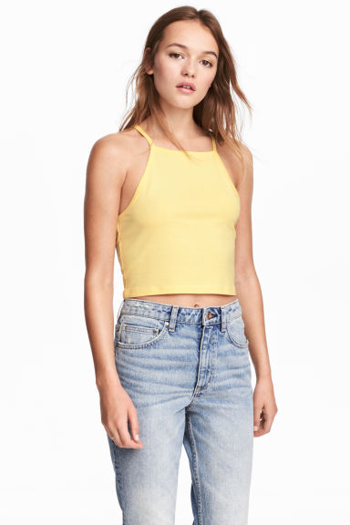 Korte straptop - Geel -  | H&M BE