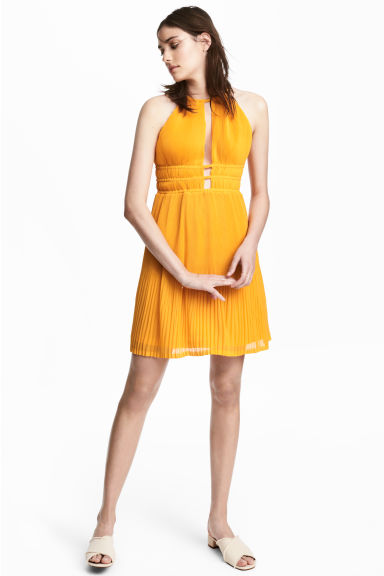 Pleated halterneck dress - Orange - Ladies | H&M