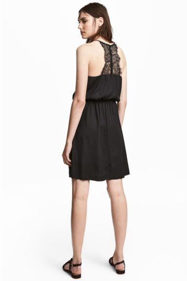 Dress with a lace back - Black -  | H&M