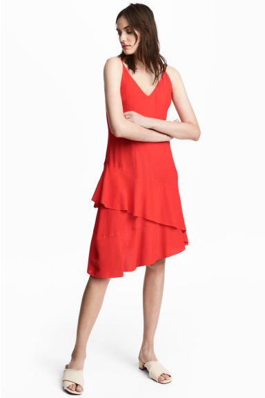 Flounced crêpe dress - Red -  | H&M