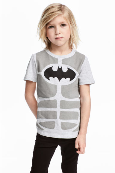 Printed T-shirt - Light grey/Batman - Kids | H&M CN