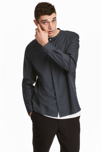Collarless shirt Regular fit - Anthracite grey - Men | H&M