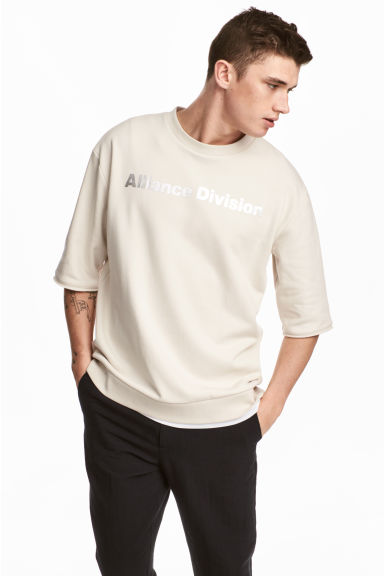 Short-sleeved sweatshirt - Natural white - Men | H&M