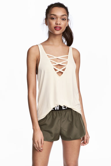 Laced vest top - White - Ladies | H&M CN