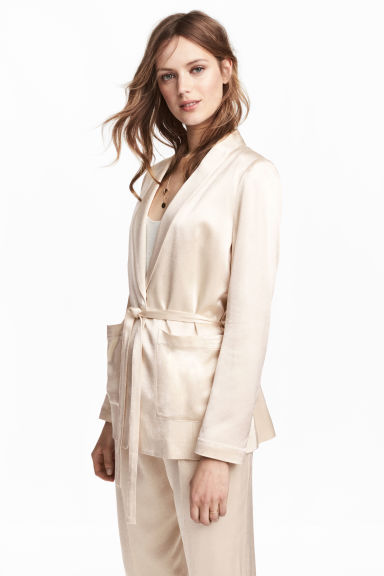 Tie-belt satin jacket - Light beige -  | H&M GB