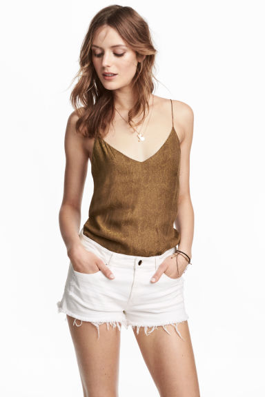 V-neck top - Khaki/Patterned -  | H&M