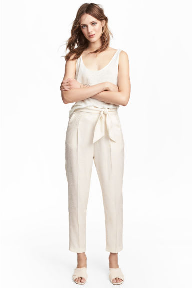 Ankle-length trousers - Natural white - Ladies | H&M