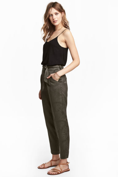Ankle-length trousers - Dark khaki green - Ladies | H&M