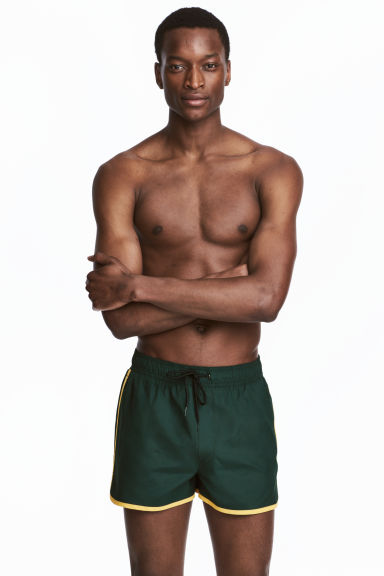 Short swim shorts - Dark green/Yellow - Men | H&M CN