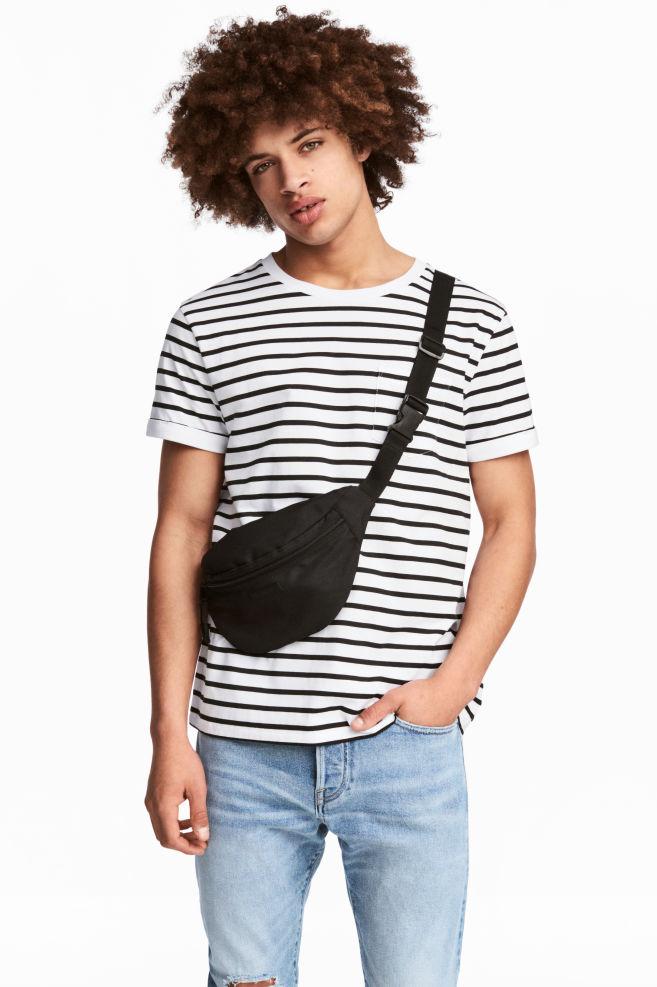 8cdd76fb06 T-shirt with Chest Pocket - White/Black striped - Men   H&M US