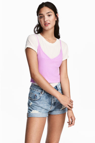 Cropped jersey strappy top - Purple -  | H&M