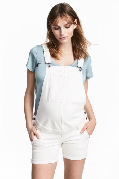 MAMA Denim dungaree shorts - White denim -  | H&M