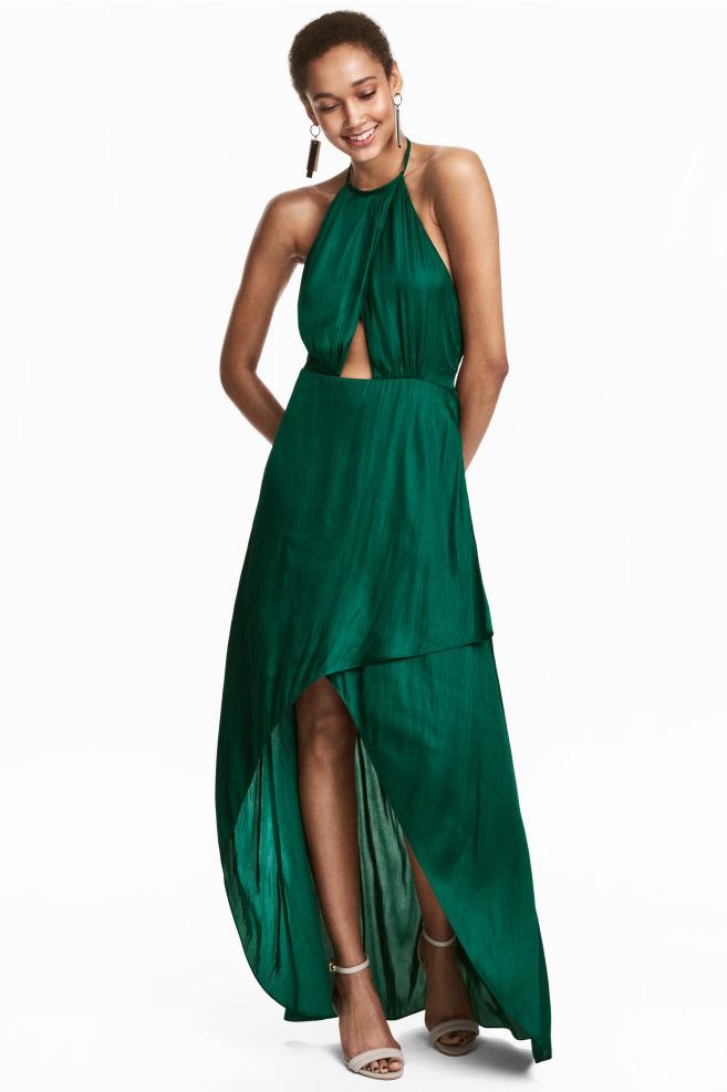 f188da34555 Robe croisée - Vert émeraude - FEMME