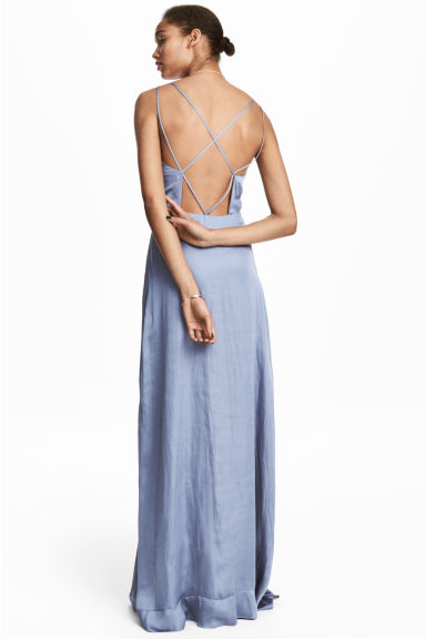Long chiffon dress - Pigeon blue -  | H&M