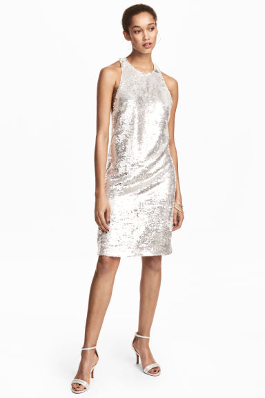 Sequined dress - White -  | H&M