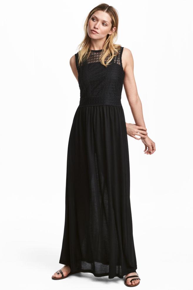 a0aea1a4ef815 Robe longue avec dentelle - Noir - FEMME   H M ...