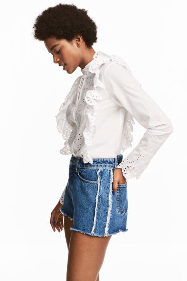 Embroidered cotton blouse - White -  | H&M IE