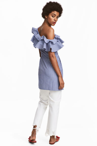 Short flounced dress - Blue/White/Checked -  | H&M GB