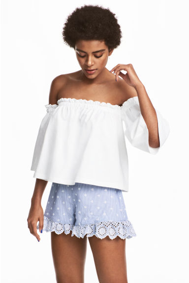 Embroidered frilled shorts - Blue/White/Striped -  | H&M