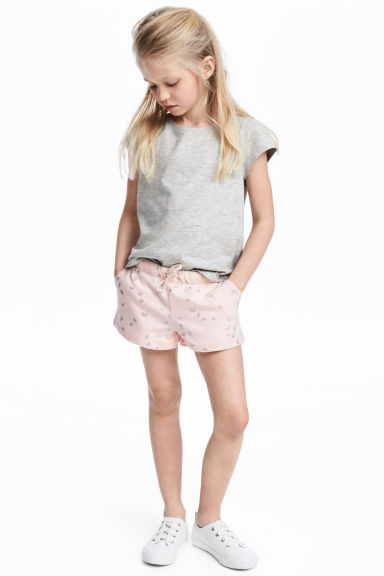 Jersey shorts - Powder pink/Butterflies - Kids | H&M