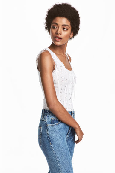 Top with broderie anglaise - White -  | H&M IE