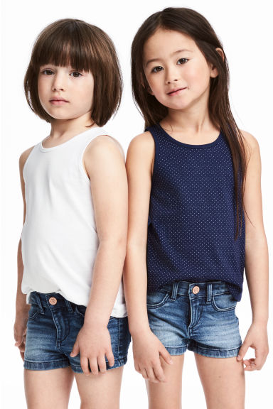 2-pack vest tops - Dark blue/Spotted -  | H&M
