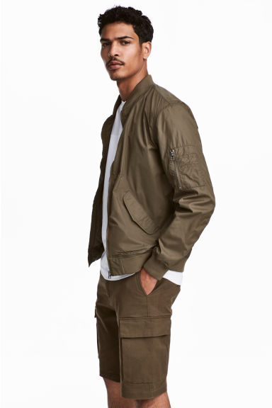 Nylon Bomber Jacket - Khaki - Men | H&M US