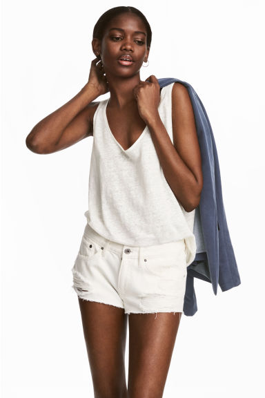 Denim shorts Low Waist - White denim -  | H&M GB