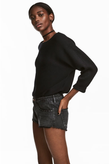 Denim shorts Low Waist - Dark grey denim -  | H&M IE