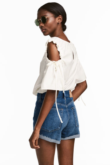 Denim shorts - Dark denim blue - Ladies | H&M