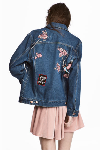 Embroidered denim jacket - Dark denim blue -  | H&M