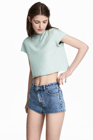 Cropped jersey top - Mint green -  | H&M