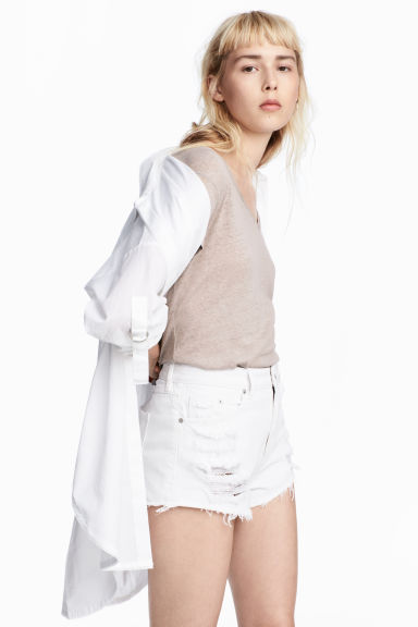 Denim shorts Skinny Regular - White denim - Ladies | H&M