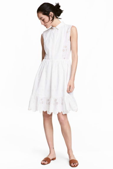 Embroidered cotton dress - White - Ladies | H&M