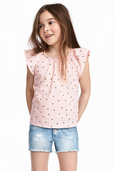 Frill-sleeved cotton blouse - Light pink/Spotted - Kids | H&M CN