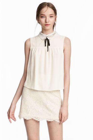 Lace-collar blouse - Natural white -  | H&M