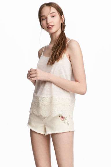 Strappy top with lace - Natural white - Ladies | H&M CN